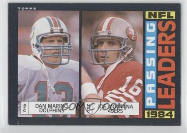 1985 Topps #192 - 1984 Passing Leaders (Dan Marino, Joe Montana)
