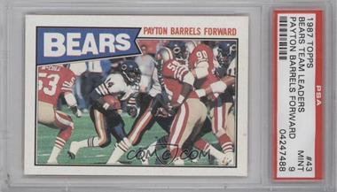 1987 Topps #43 - Chicago Bears - Payton Barrels Forward [PSA9]