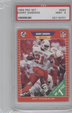 1989 Pro Set - [Base] #494 - Barry Sanders [PSA9]
