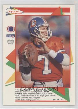 1991 Pacific Flash Cards - [Base] #43 - John Elway