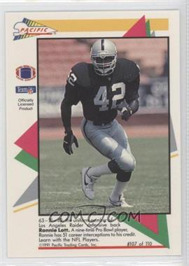 1991 Pacific Flash Cards #107 - Ronnie Lott