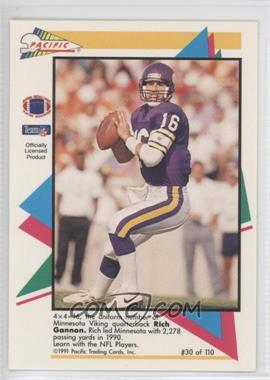 1991 Pacific Flash Cards #30 - Rich Gannon