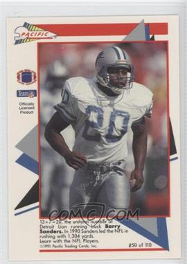 1991 Pacific Flash Cards #50 - Barry Sanders