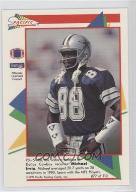 1991 Pacific Flash Cards #77 - Michael Irvin