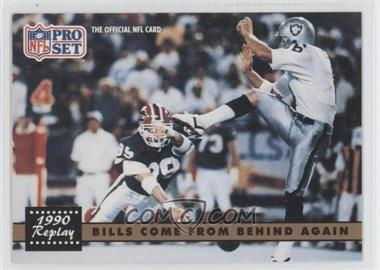 1991 Pro Set #328.1 - Bills Come From Behind Again (Steve Tasker, Jeff Gossett) (Error: No NFLPA Logo on Back)