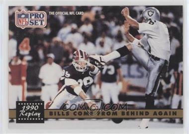 1991 Pro Set #328.2 - Bills Come From Behind Again (Steve Tasker, Jeff Gossett) (Corrected: NFLPA Logo on back)