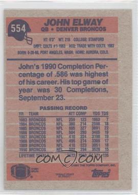 1991 Topps - [Base] - Blank Front #554 - John Elway