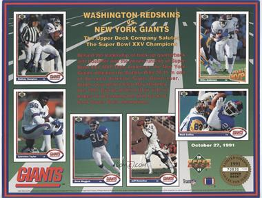 1991 Upper Deck Limited Edition Collector Series Sheets #N/A - Washington Redskins vs. New York Giants