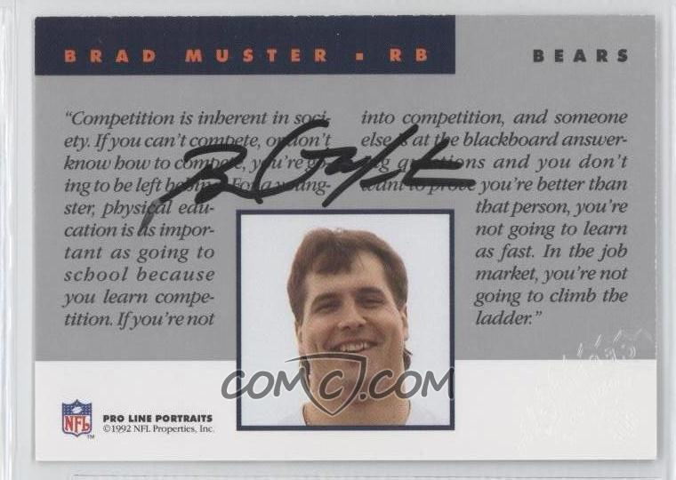 1992 pro line portraits autographs brmu brad muster comc card marketplace. Black Bedroom Furniture Sets. Home Design Ideas