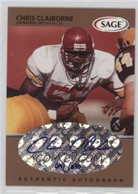 1999 SAGE - Autographs - Bronze #A9 - Chris Claiborne /650