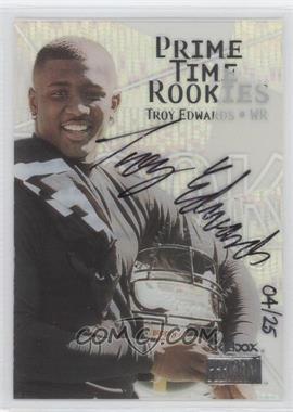 1999 Skybox Premium Prime Time Rookies Autographs [Autographed] #14 PR - Troy Edwards /25