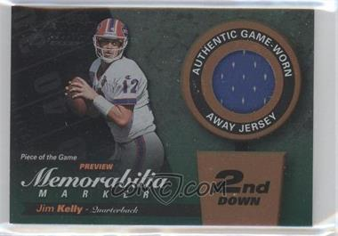 2000 Leaf Limited - Piece of the Game Preview Memorabilia Marker - 2nd Down #12 - Jim Kelly /100