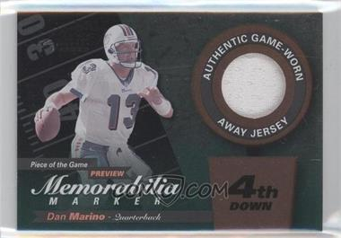 2000 Leaf Limited Piece of the Game Preview Memorabilia Marker 4th Down #DM13-W - Dan Marino