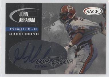 2000 SAGE Autographs Silver #A1 - John Abraham /400