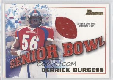 2001 Bowman Rookie Jerseys #BJ-DBU - Derrick Burgess