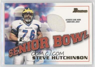 2001 Bowman Rookie Jerseys #BJ-SH - Steve Hutchinson