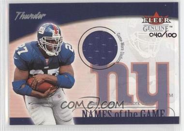 2001 Fleer Genuine - Names of the Game Uniform #N/A - Ron Dayne /100
