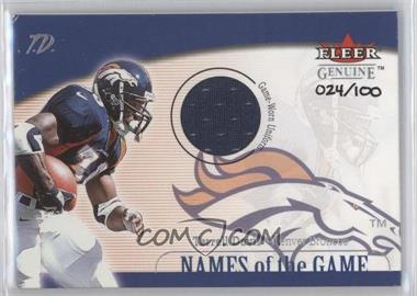 2001 Fleer Genuine Names of the Game Uniform #N/A - Terrell Davis /100