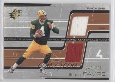 2001 SPx Winning Materials #WM-BF2 - Brett Favre /300