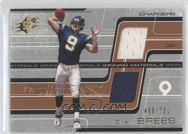 2001 SPx Winning Materials #WM-DB2 - Drew Brees /750