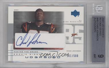2001 UD Graded Making the Grade Rookie Signature #48 - Chad Johnson /500 [BGS 9]