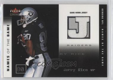 2002 Fleer Genuine - [???] #JR-NG - Jerry Rice /500