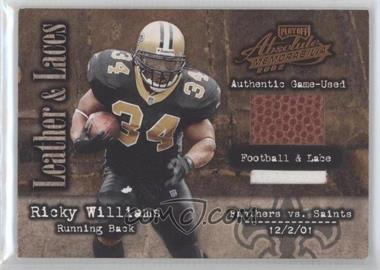 2002 Playoff Absolute Memorabilia Leather and Laces Football & Lace #LL45 - Ricky Williams /50