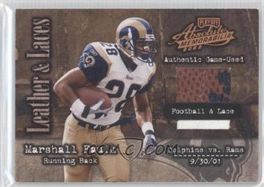 2002 Playoff Absolute Memorabilia Leather and Laces Football & Lace #LL48 - Marshall Faulk /50