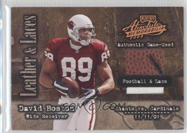 2002 Playoff Absolute Memorabilia Leather and Laces Football & Lace #LL6 - David Boston /25