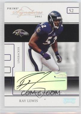 2002 Playoff Prime Signatures - [Base] - Authentic Signatures [Autographed] #26 - Ray Lewis /16