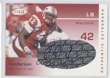 2003 SAGE - Autographs #A20 - E.J. Henderson