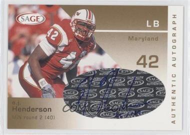 2003 SAGE Autographs Gold #A20 - E.J. Henderson