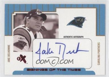 2004 Fleer E-X Signings Of The Times Red #STA/JD - Jake Delhomme /250