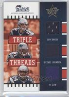 Tom Brady, Bethel Johnson, Ty Law /100