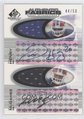 2004 SP Game Used Edition Authentic Fabrics Autographed Dual #AAF2-HM - Travis Henry, Willis McGahee /50