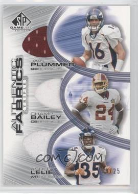 2004 SP Game Used Edition Authentic Fabrics Triple #AF3-PBL - Ashley Lelie, Champ Bailey, Jake Plummer /25