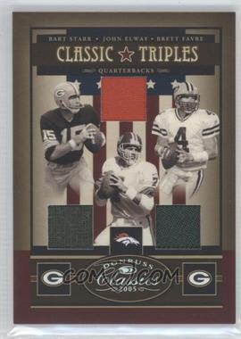 2005 Donruss Classics Classic Triples Jerseys [Memorabilia] #CT-4 - Brett Favre, John Elway, Bart Starr /50