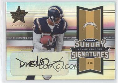 2005 Leaf Rookies & Stars Longevity Sunday Signatures #SS-13 - Donnie Edwards /299