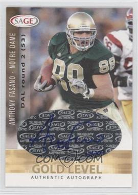 2006 SAGE Autographs Gold Level #A16 - Anthony Fasano /200