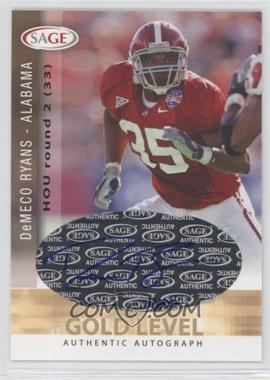 2006 SAGE Autographs Gold Level #A44 - DeMeco Ryans
