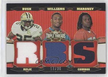 2006 Topps Triple Threads - Relic Combos #TTRC19 - Laurence Maroney, Reggie Bush, DeAngelo Williams /36