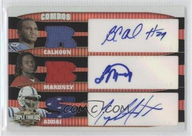 2006 Topps Triple Threads Autographed Relic Combos #TTRCA-4 - Joseph Addai, Laurence Maroney, Brian Calhoun /36