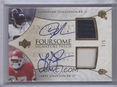 2006 Upper Deck Exquisite Collection Foursome Signature Patch #EFSP-21 - Tiki Barber, Rudi Johnson, LaDainian Tomlinson, Larry Johnson /5 [Near Mint‑Mint]