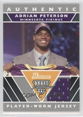 2007 Bowman Draft Day Selections Relics #DJ-AP - Adrian Peterson