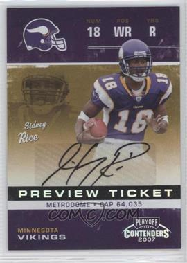 2007 Leaf Limited Contenders Rookie Ticket Preview Autographs #RTP-3 - Sidney Rice /50