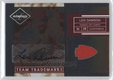 2007 Leaf Limited Team Trademarks Team Logo Materials Signatures [Autographed] [Memorabilia] #TT-33 - Len Dawson /25