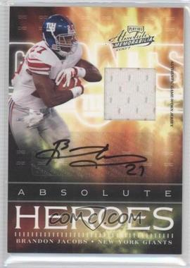 2007 Playoff Absolute Memorabilia Absolute Heroes Materials Signatures [Autographed] [Memorabilia] #AH-10 - Brandon Jacobs /50