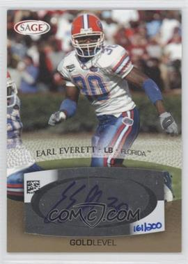 2007 SAGE Autographed Football - Autographs - Gold #A16 - Earl Everett /200