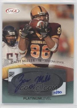 2007 SAGE Autographed Football - Autographs - Platinum #A36 - Zach Miller /50