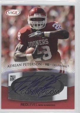 2007 SAGE Autographed Football - Autographs - Red #A41 - Adrian Peterson